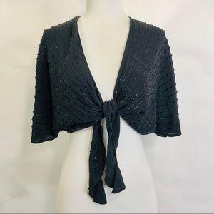 Bloomingdales Beaded Shrug Black Silk Tie Wrap